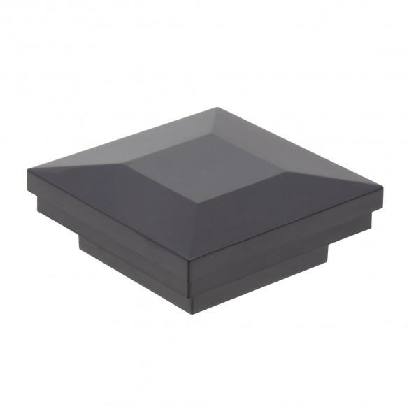 """2"""" Sq. Ornamental Vinyl Post Cap For Aluminum Post (Black)"""