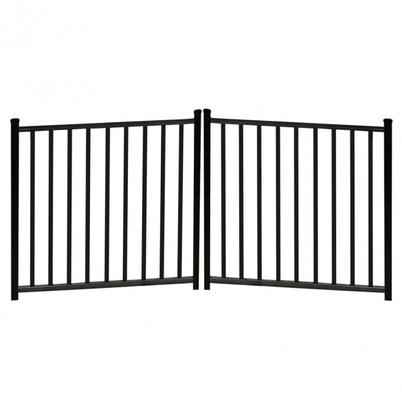 "Durables 4 1/2' X 8' Canfield Black Aluminum Double Drive Gate with Trident 10"" Pool Latch, Two Sets of Self-Closing Hinges and Key-Locking Drop Rod - DBAL-FLTP2-4X48FL"