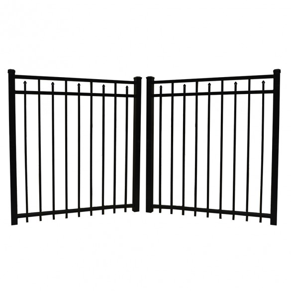 "Durables 4' X 60"" Canton Black Aluminum Double Gate with Nationwide Gate Hardware - DBAL-FLSP-4X60"
