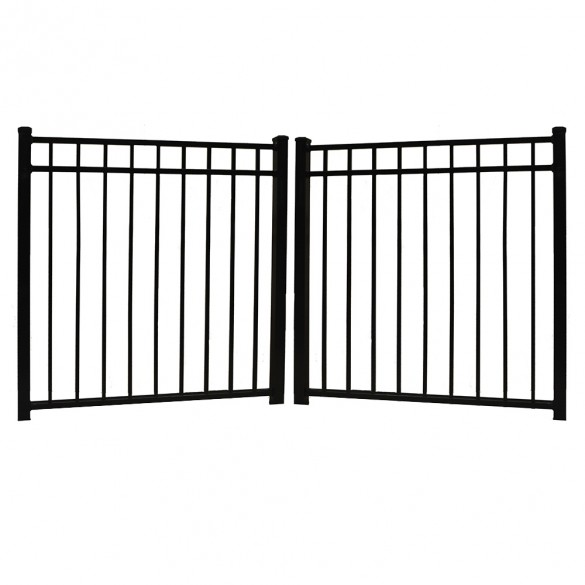 "Durables 4 1/2' X 48"" Hamilton Black Aluminum Double Drive Gate with Trident 10"" Pool Latch, Two Sets of Self-Closing Hinges and Key-Locking Drop Rod - DBAL-FLTP-4.5X48FL"