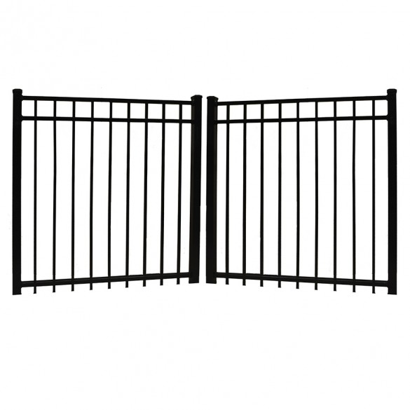 "Durables 4' X 48"" Parma Black Aluminum Double Gate with Nationwide Gate Hardware - DBAL-FLTP-4X48"