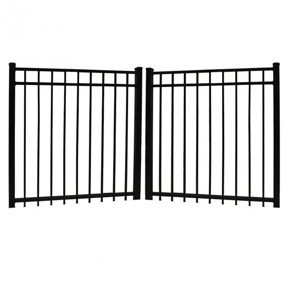 "Durables 4' X 60"" Parma Black Aluminum Double Gate with Nationwide Gate Hardware - DBAL-FLTP-4X60"