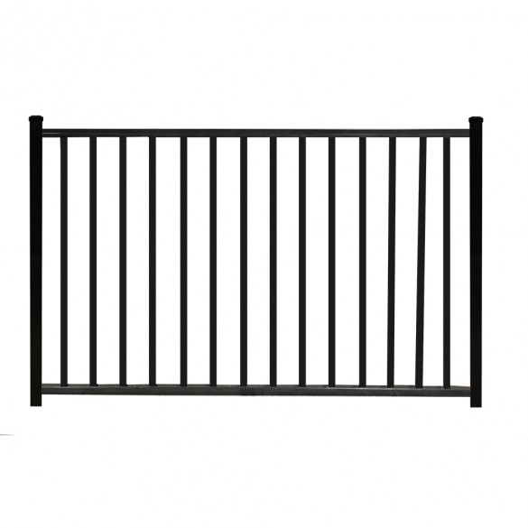 "Durables 4' X 60"" Canfield Black Aluminum Single Gate with Trident 10"" Pool Latch and Self-Closing Hinges - SBAL-FLTP2-4X60FL"