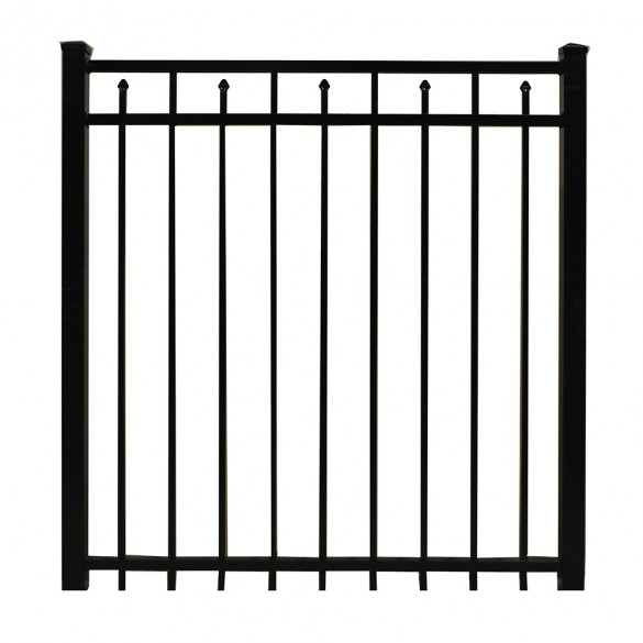 "Durables 5' X 60"" Canton Black Aluminum Single Gate with Nationwide Gate Hardware - SBAL-FLSP-5X60"