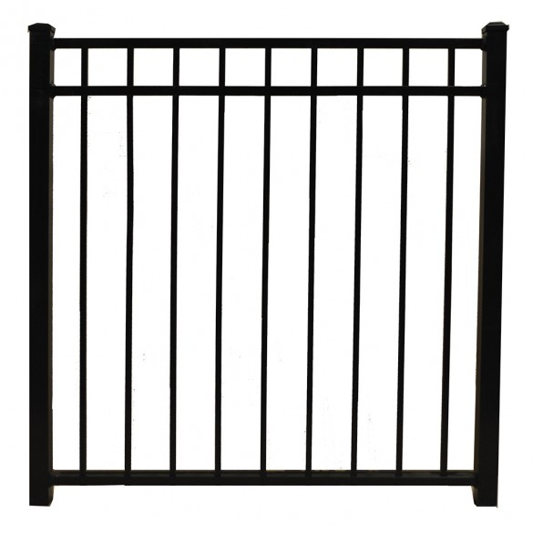 "Durables 4 1/2' X 60"" Hamilton Black Aluminum Single Gate with Trident 10"" Pool Latch and Self-Closing Hinges - SBAL-FLTP-4.5X60FL"