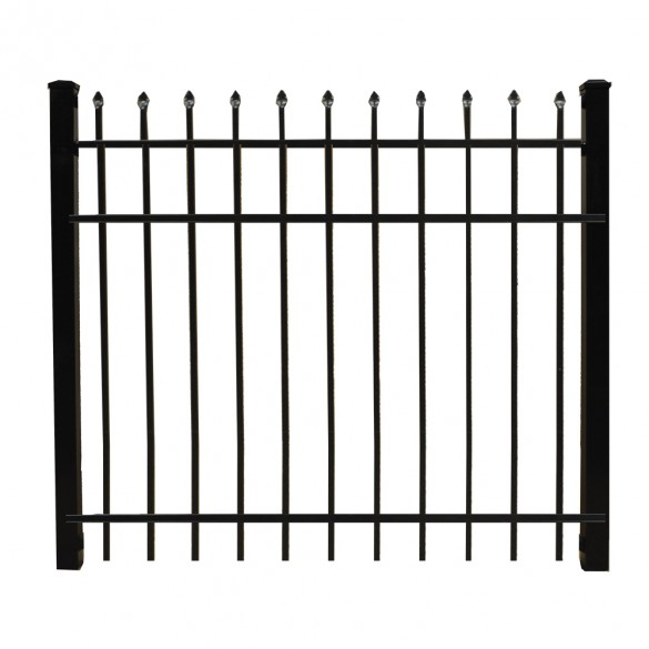 "Durables 4' X 48"" Olmsted Black Aluminum Single Gate with a Keystone Advantage Latch and Self-Closing Hinge - SBAL-SPTP-4X48"
