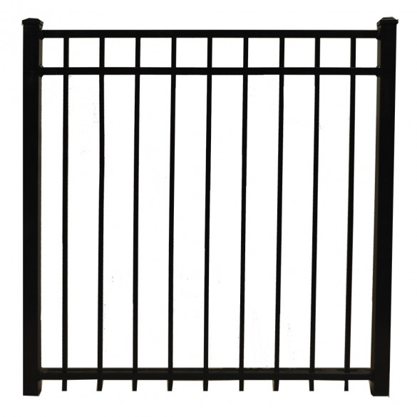 "Durables 4' X 48"" Parma Black Aluminum Single Gate with Nationwide Gate Hardware - SBAL-FLTP-4X48"