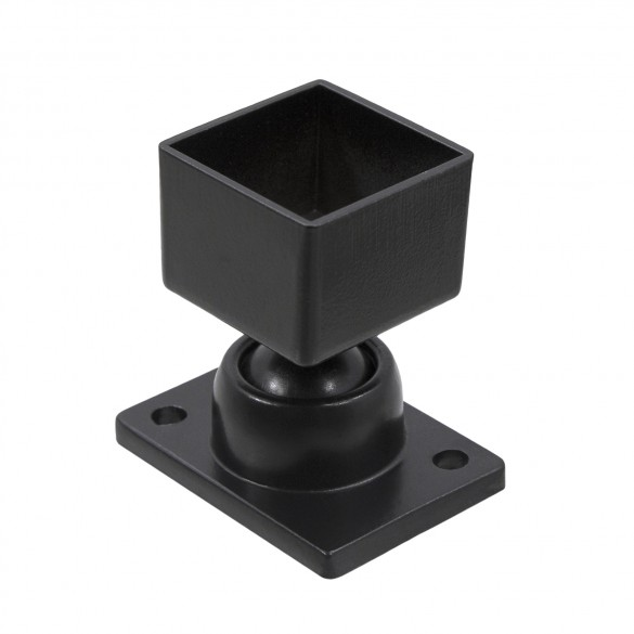 "1 1/4"" x 1 1/4"" Square Adjustable Swivel Ball Bracket - Black"