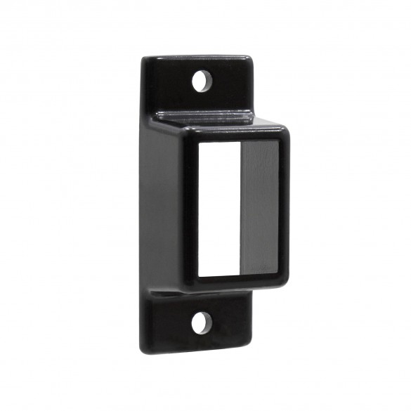 "Aluminum Fence Standard Wall Mount 1"" W x 1 1/2"" H - Commercial (Black)"