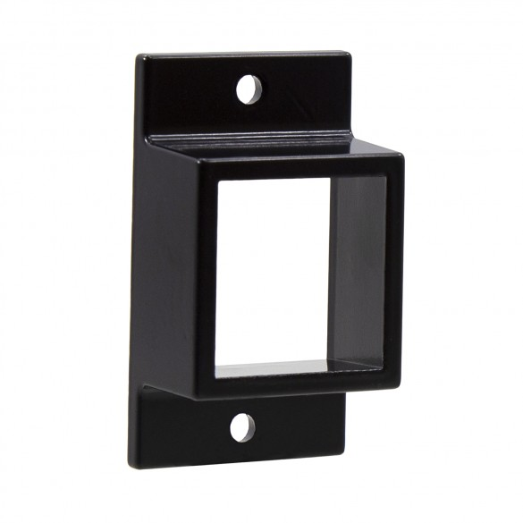 "1 5/8"" x 1 5/8"" Stationary Square Dual Flange Wall Mount Bracket For Aluminum Fence - Black"