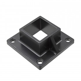 "Floor Flange for 2"" Square x 2"" Square Aluminum Fence Posts - Deck Mount (Black)"