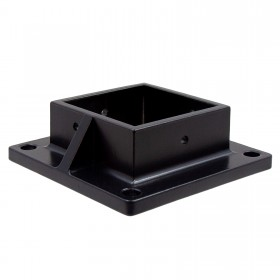 "Floor Flange With Set Screw Holes For 3"" Square Aluminum Fence Posts - Deck Mount (Black)"