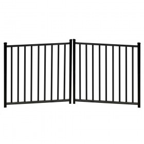 "Durables 4' X 8' Canfield Black Aluminum Double Drive Gate with Trident 10"" Pool Latch, Two Sets of Self-Closing Hinges and Key-Locking Drop Rod - DBAL-FLTP2-4X48FL"