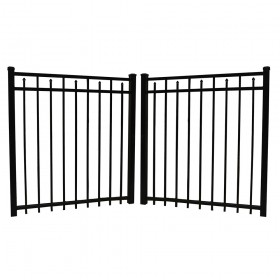 "Durables 4' X 48"" Canton Black Aluminum Double Gate with Nationwide Gate Hardware - DBAL-FLSP-4X48"