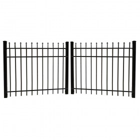 Durables 4' X 8' Olmsted Black Aluminum Double Drive Gate with Keystone Advantage Latch, Two Sets of Self-Closing Hinges and Key-Locking Drop Rod - DBAL-SPTP-4X48