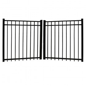 Durables 5' High Parma Black Aluminum Double Gate with Nationwide Pool Gate Hardware (8' Wide Gate Opening)