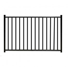 "Durables 4' X 48"" Canfield Black Aluminum Single Gate with Trident 10"" Pool Latch and Self-Closing Hinges - SBAL-FLTP2-4X48FL"