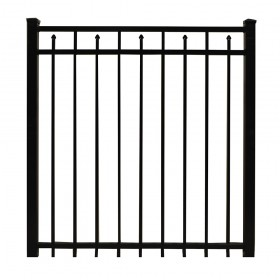 "Durables 5' X 48"" Canton Black Aluminum Single Gate with Nationwide Pool Gate Hardware - SBAL-FLSP-5X48P"