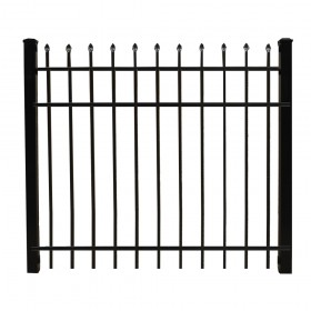 "Durables 4' X 60"" Olmsted Black Aluminum Single Gate with Keystone Advantage Latch and Self-Closing Hinges - SBAL-SPTP-4X60"