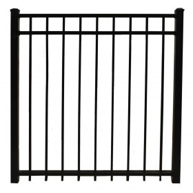 "Durables 4' X 60"" Parma Black Aluminum Single Gate with Nationwide Gate Hardware - SBAL-FLTP-4X60"