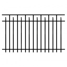 Durables 4' X 6' Canton Aluminum Black Fence Panel - PBAL-FLSP-4X6