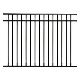 Durables Hamilton 4 1/2' X 6' Aluminum Black Fence Panel - PBAL-FLTP-4.5X6FL