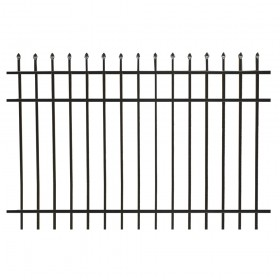 Durables Olmsted 4' X 6' Aluminum Black Fence Panel - PBAL-SPTP-4X6
