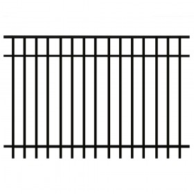 Durables Parma 5' X 6' Aluminum Black Fence Panel - PBAL-FLTP-5X6