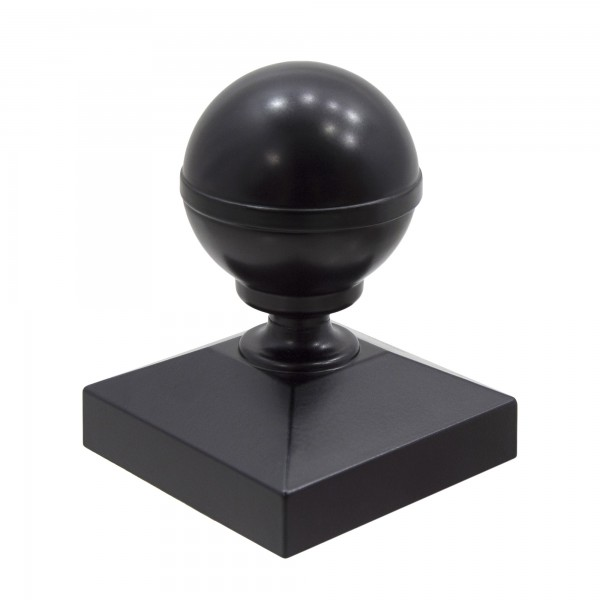 "Aluminum Ball Post Cap For 2 1/2"" Square Aluminum Fence Post - Black"