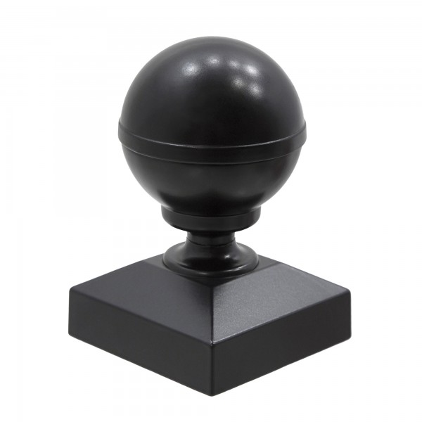 "Aluminum Ball Post Cap For 2"" Square Aluminum Fence Post - Black"