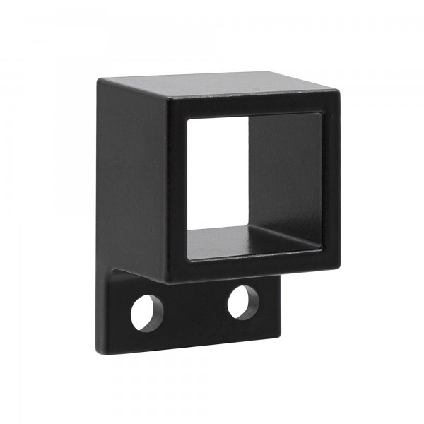 "1"" x 1 1/8"" Stationary Square Single Flange Wall Mount Bracket For Aluminum Fence - Black"