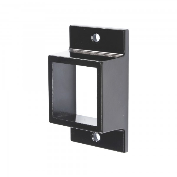 """1 5/8"""" x 1 5/8"""" Stationary Square Dual Flange Wall Mount Bracket For Aluminum Fence - Black"""