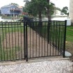 Durables 5' High Parma Picket Fence (Black) - Gate Installation Shown